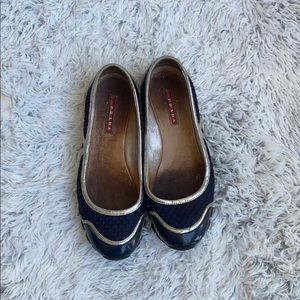 Prada ballerina flats in blue and silver